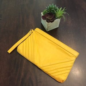 Yellow Clutch with Stitched Accent